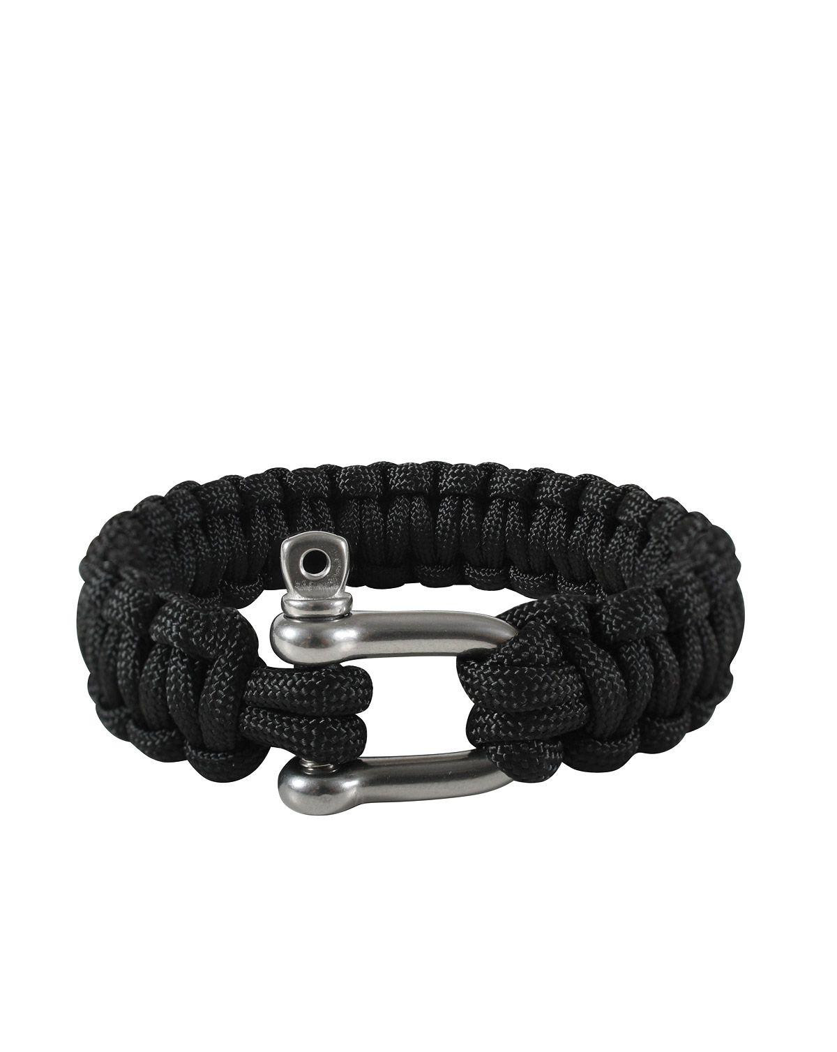 "Image of   Rothco D-shackle Paracord Armbånd (Sort, 10"" / 25 cm)"