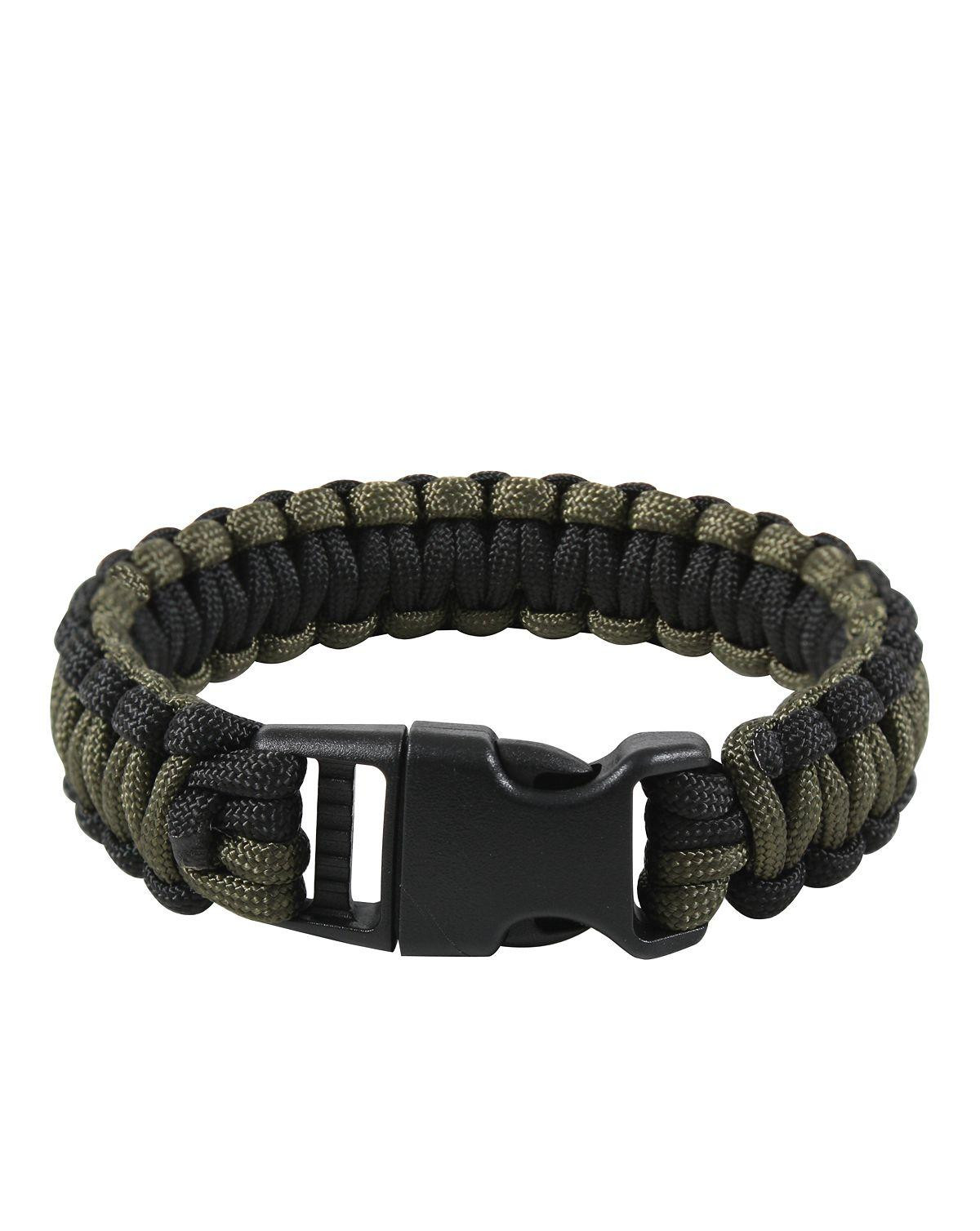 "Image of   Rothco Deluxe Paracord Armbånd (Oliven / Sort, 7"" / 18 cm)"