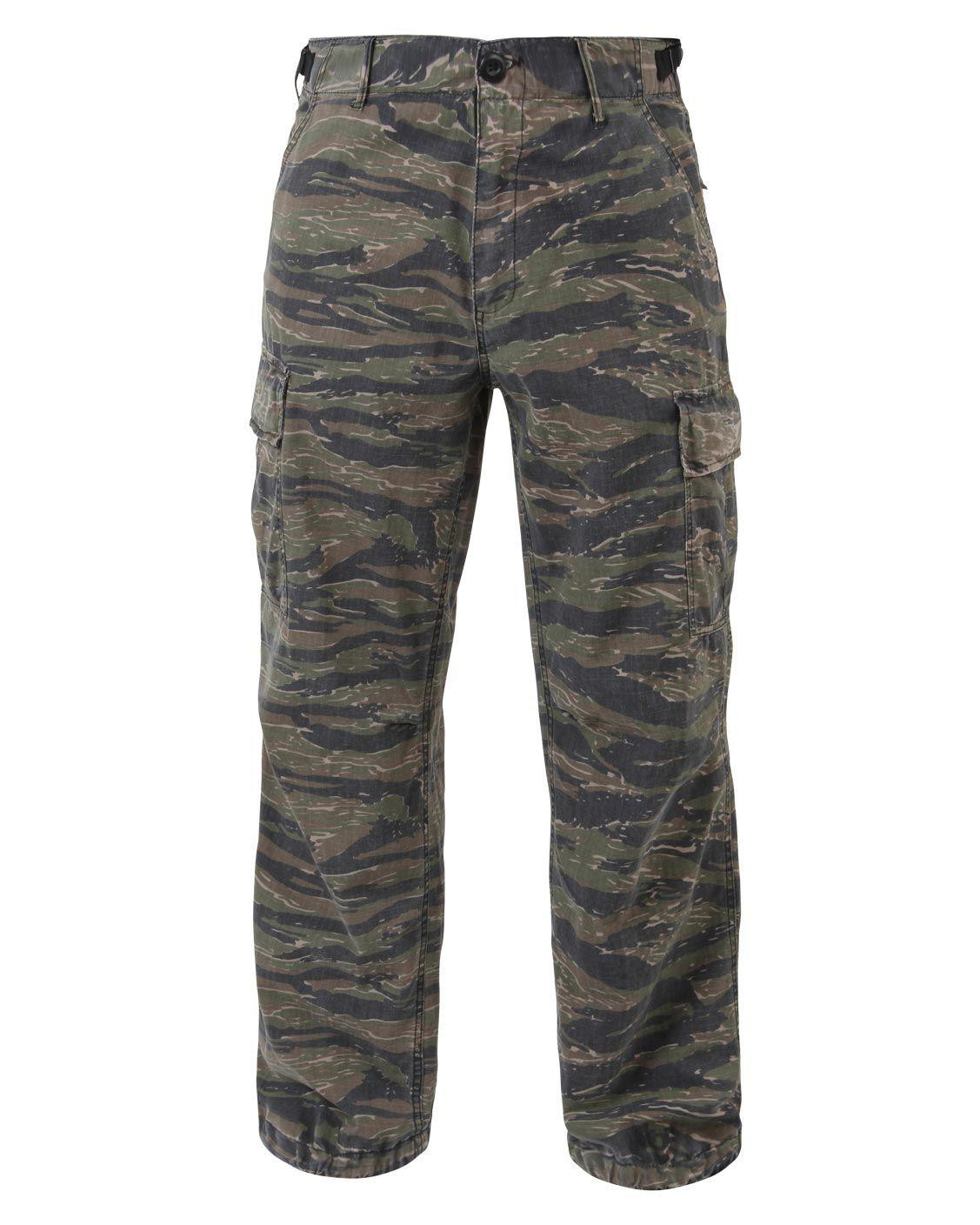 Rothco Fatigue Byxor i Rip-Stop - Washed (Tiger Stripe, XS)