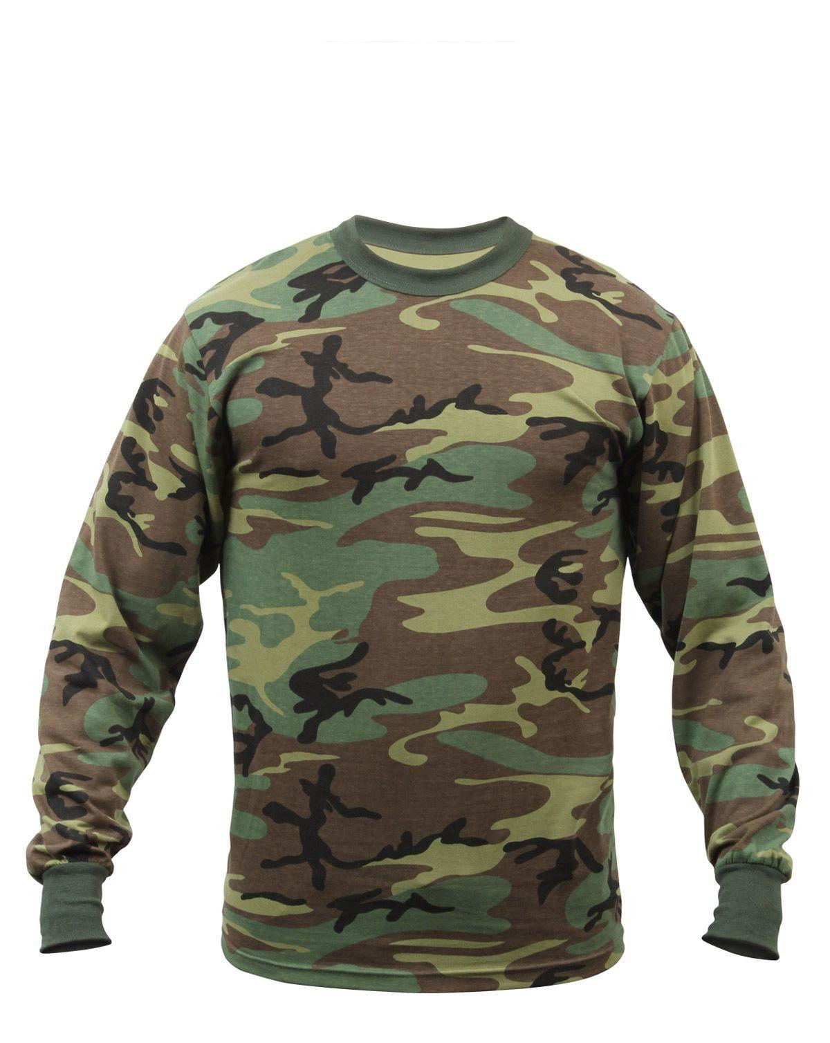 rothco langærmet t-shirt - drenge (woodland, 122-128 / s) fra rothco