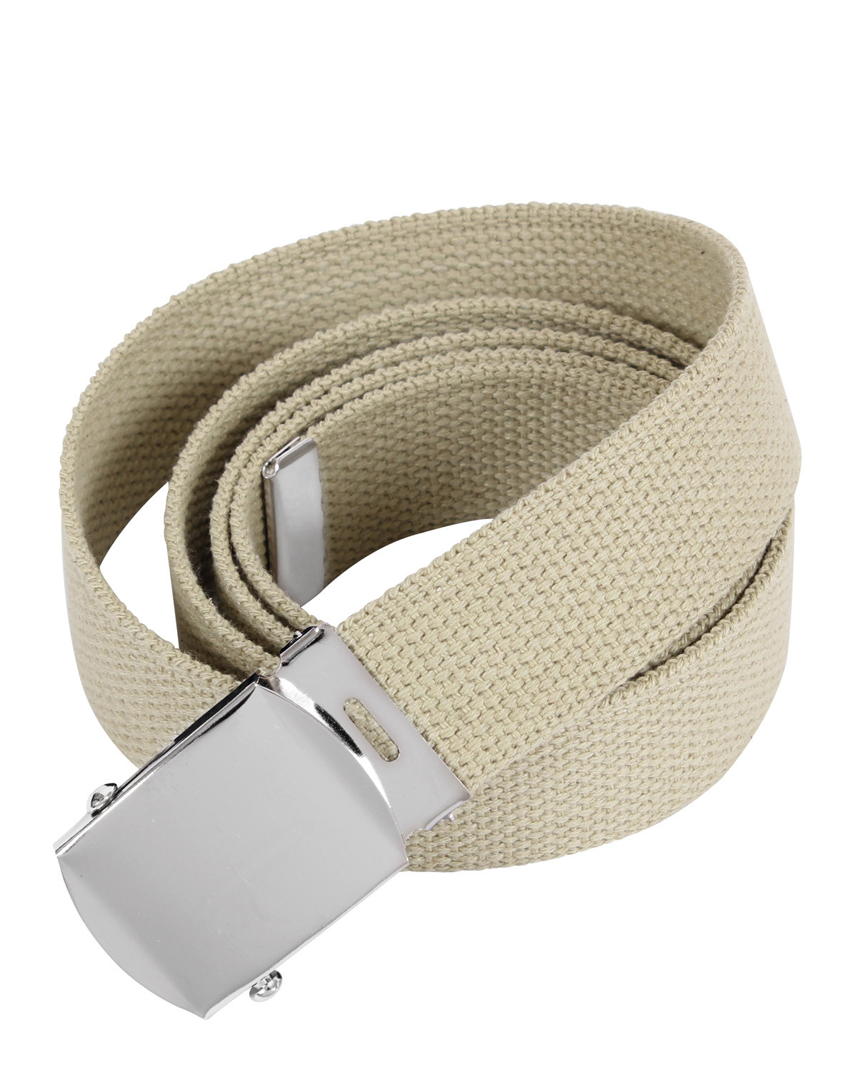 Rothco Military Bälte - 135 cm (Khaki w. Chrome Buckle, One Size)