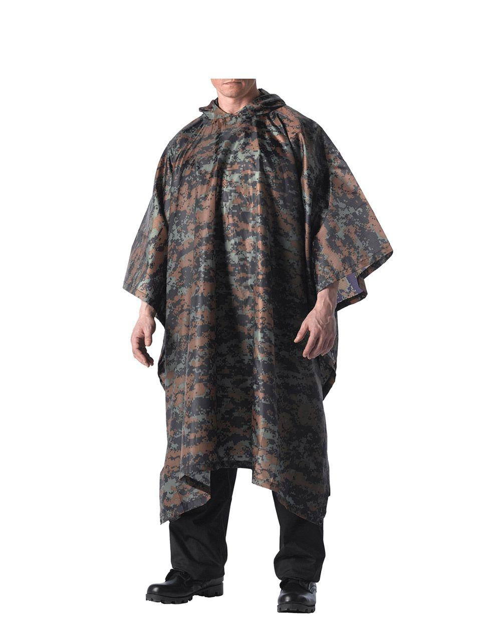 Image of   Rothco Military Poncho - Rip-stop (Digital Woodland, One Size)