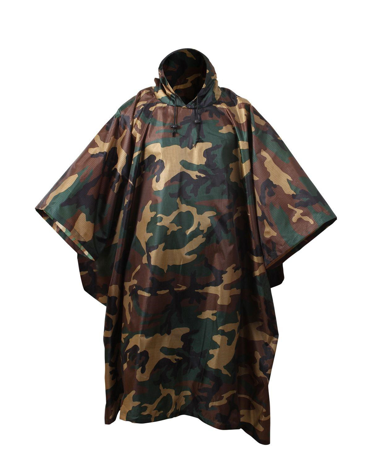 Image of   Rothco Poncho i Ripstop (Woodland, One Size)