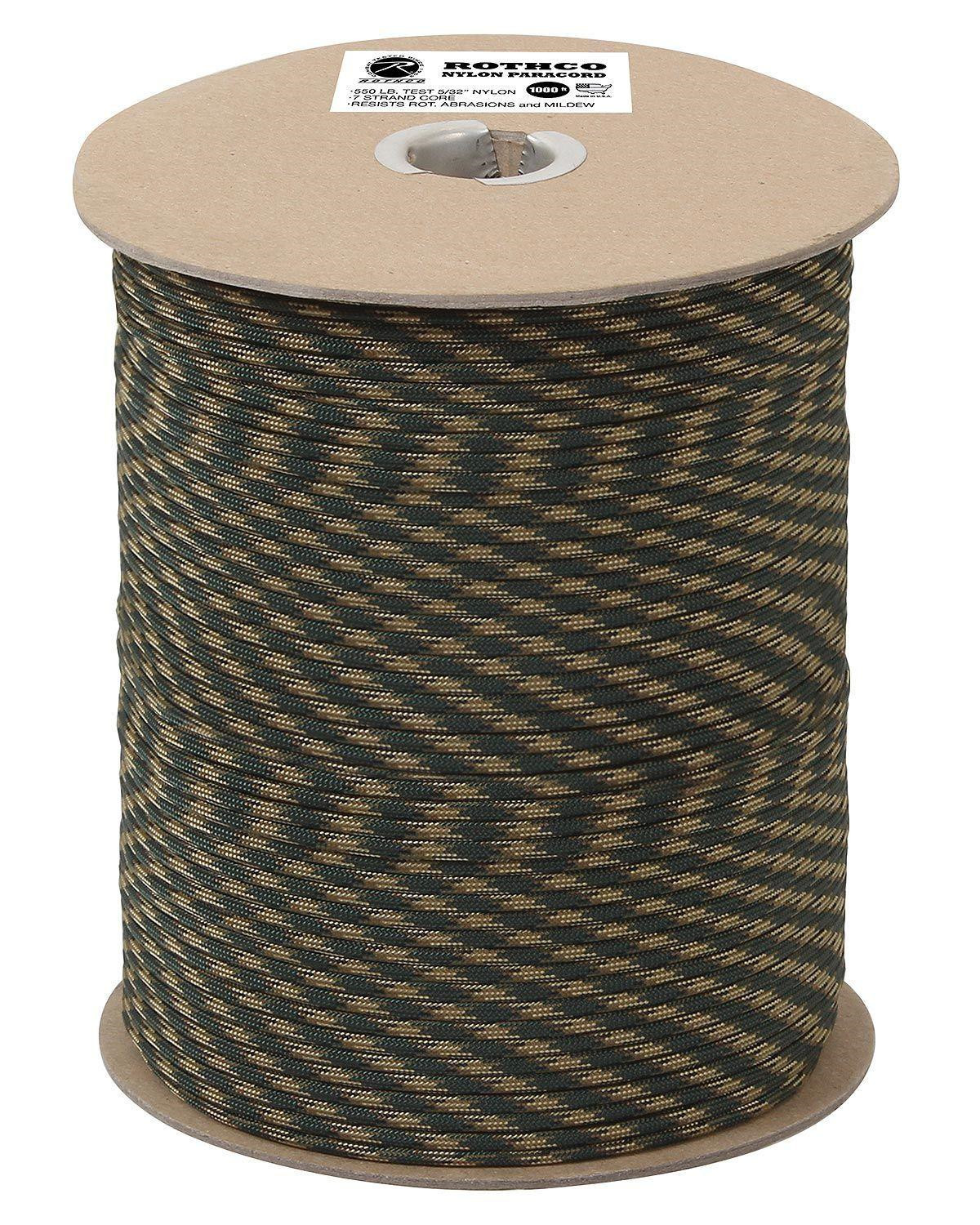 Image of   Rothco Rulle m. 304m./1000ft Paracord - 550lb (Woodland, One Size)