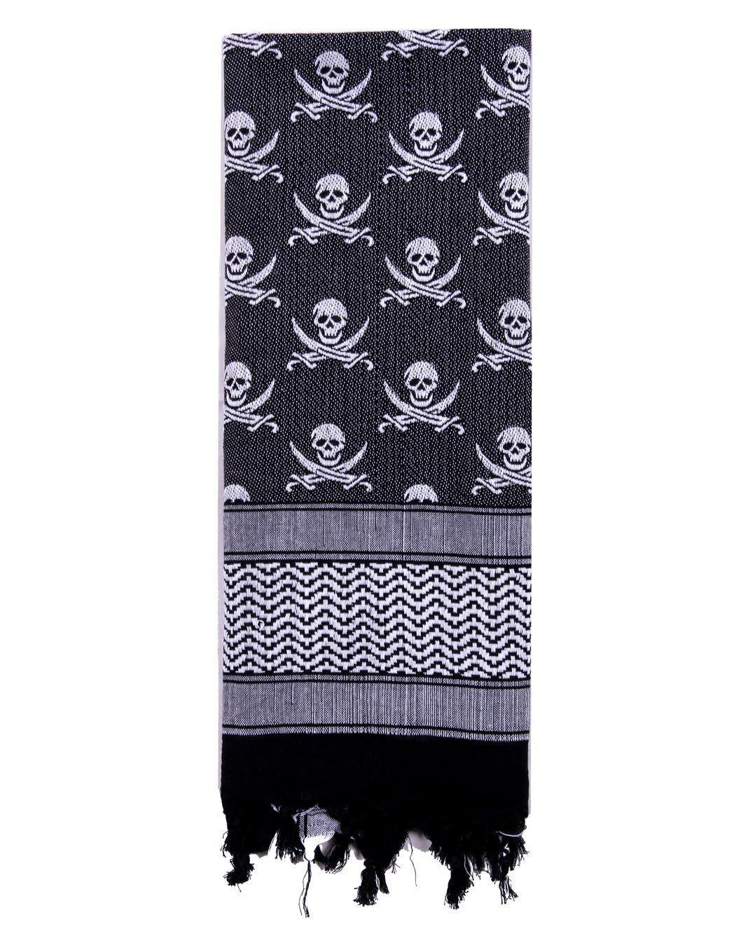 Image of   Rothco Shemagh Tørklæde - 'Skulls' (Hvid / Sort, One Size)
