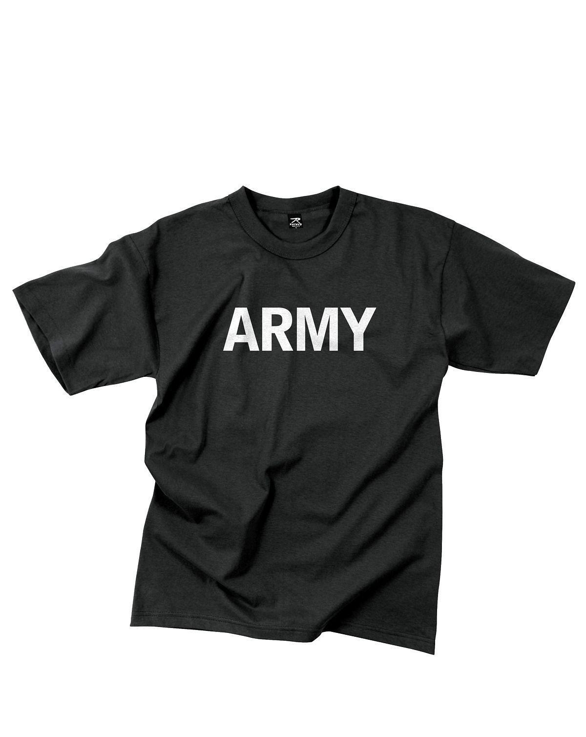 Rothco T-shirt m. PT reflextryck (Svart / ARMY, 3XL)