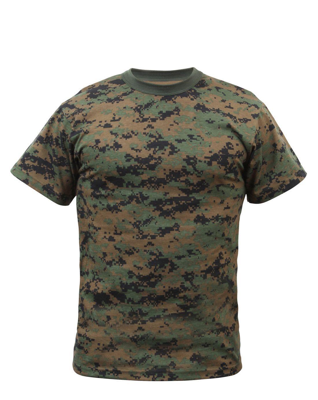 Rothco T-shirt - Många Kamouflage (Digital Woodland, 4XL)