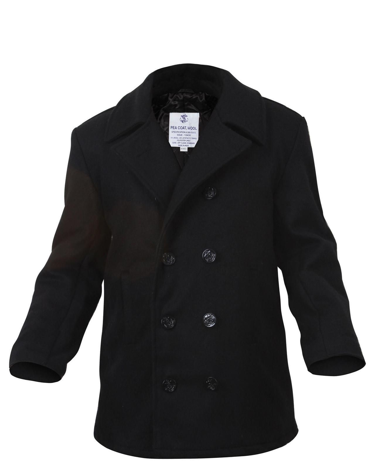 Rothco US Type Pea Coat (Svart, XS)