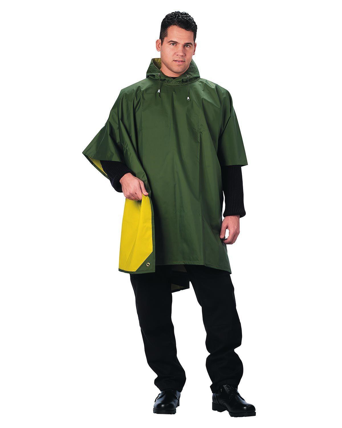 Image of   Rothco Vendbar Regn Poncho (Oliven / Gul, One Size)