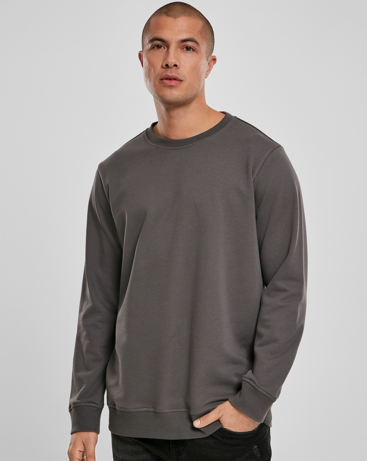 Urban Classics Basic Terry Crewneck (Dark Shadow, 2XL)