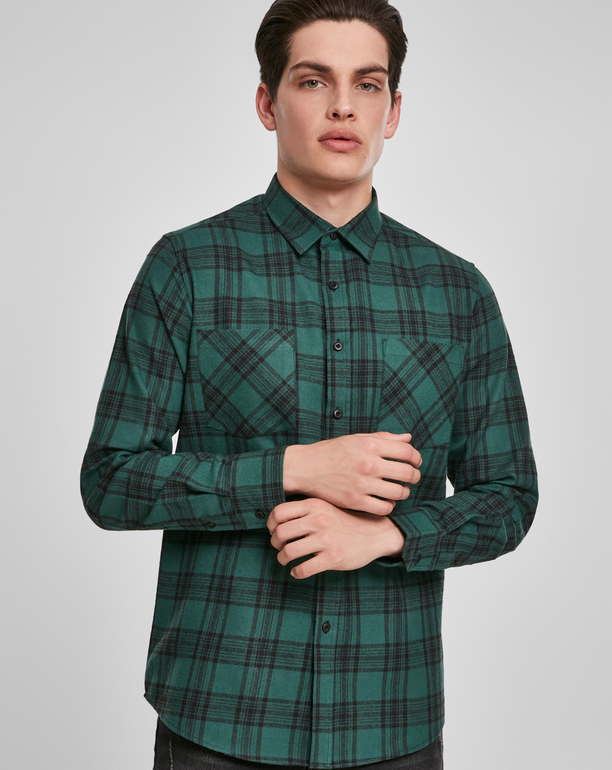 Urban Classics Checked Flanell Shirt 7 (Dark Green / Black, 2XL)