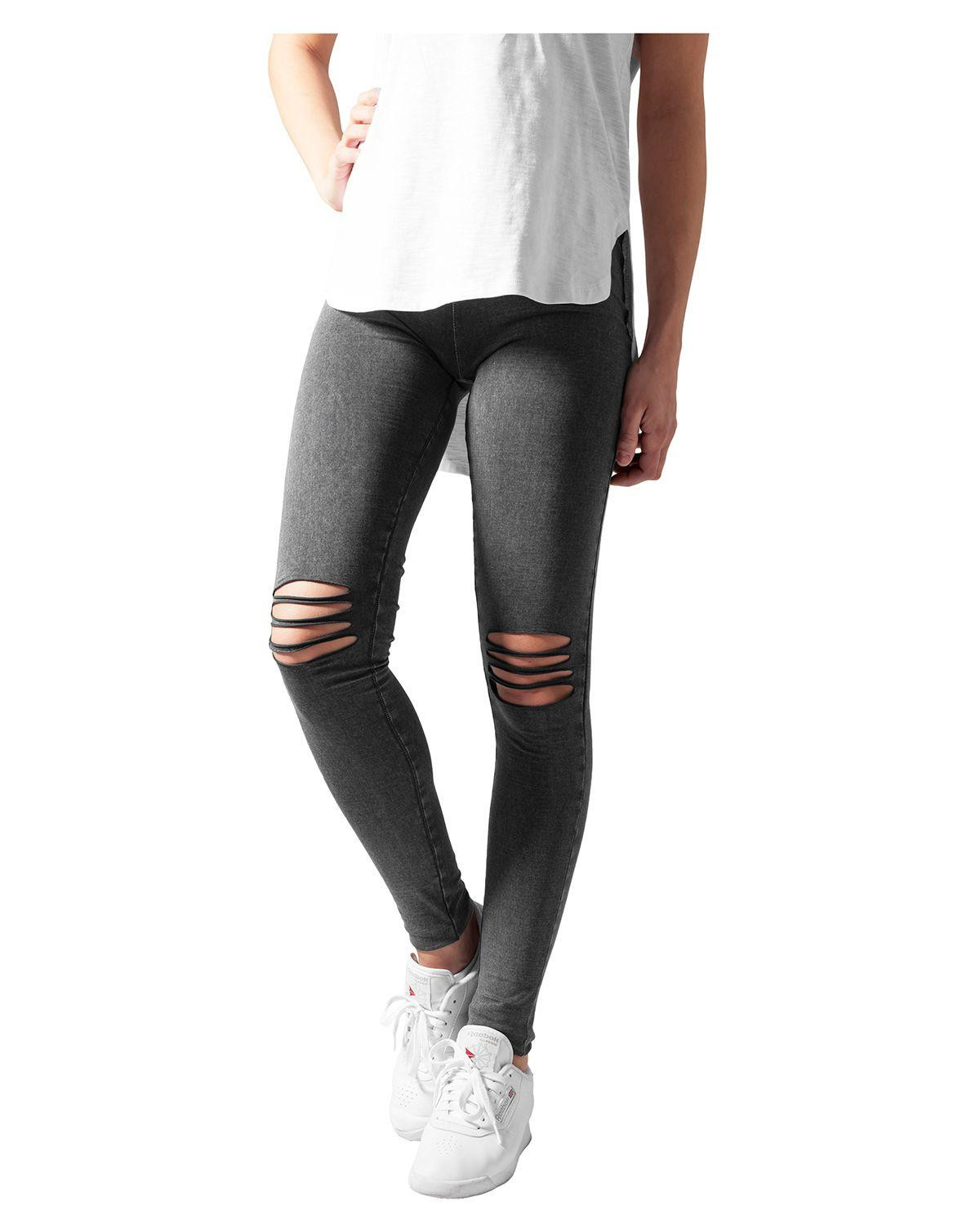 Image of   Urban Classics Cutted Knee Leggings (Washed Sort, L)