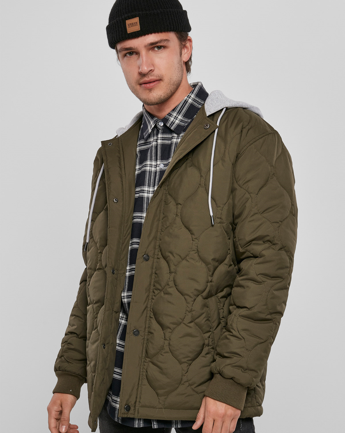 Urban Classics Quilted Hooded Jacket (Dark Olive, 2XL)