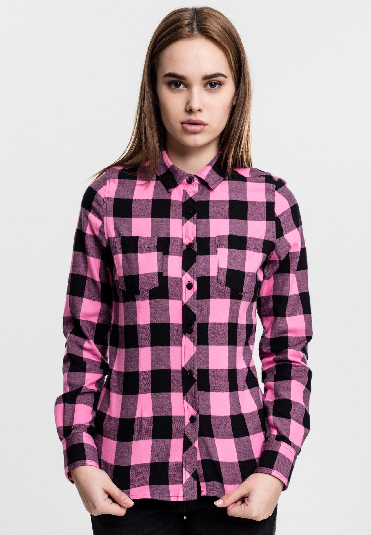 Image of   Urban Classics Turnup Ternet Flanell Skjorte (Sort / Pink, XL)