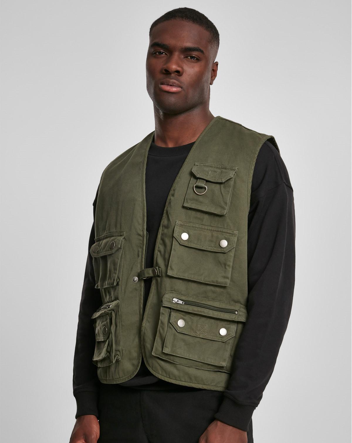 Urban Classics Worker Vest (Dark Olive, 2XL)