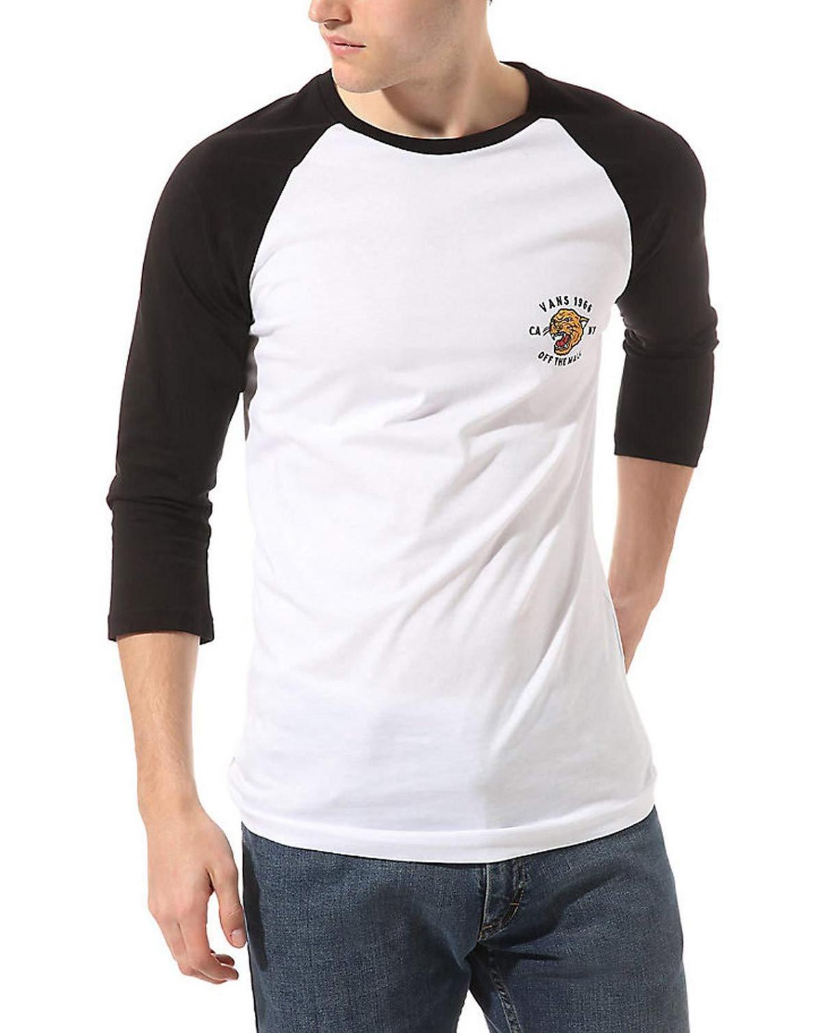 VANS Mn Growler Raglan 3/4 Sleeve T-Shirt (Hvid / Sort, S)