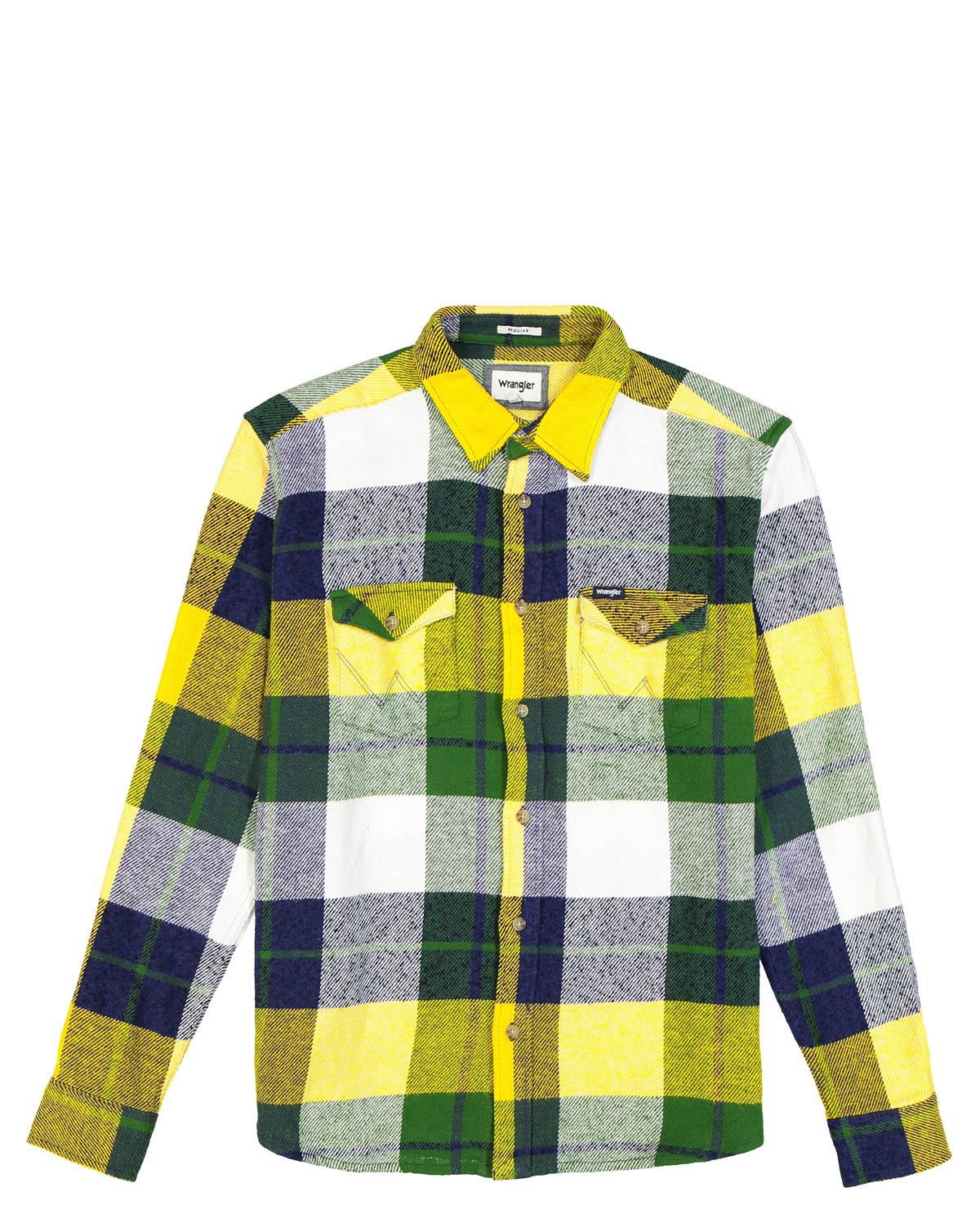 Wrangler Regular Fit Checked Two Pocket Flap Shirt (Yellow, XL)