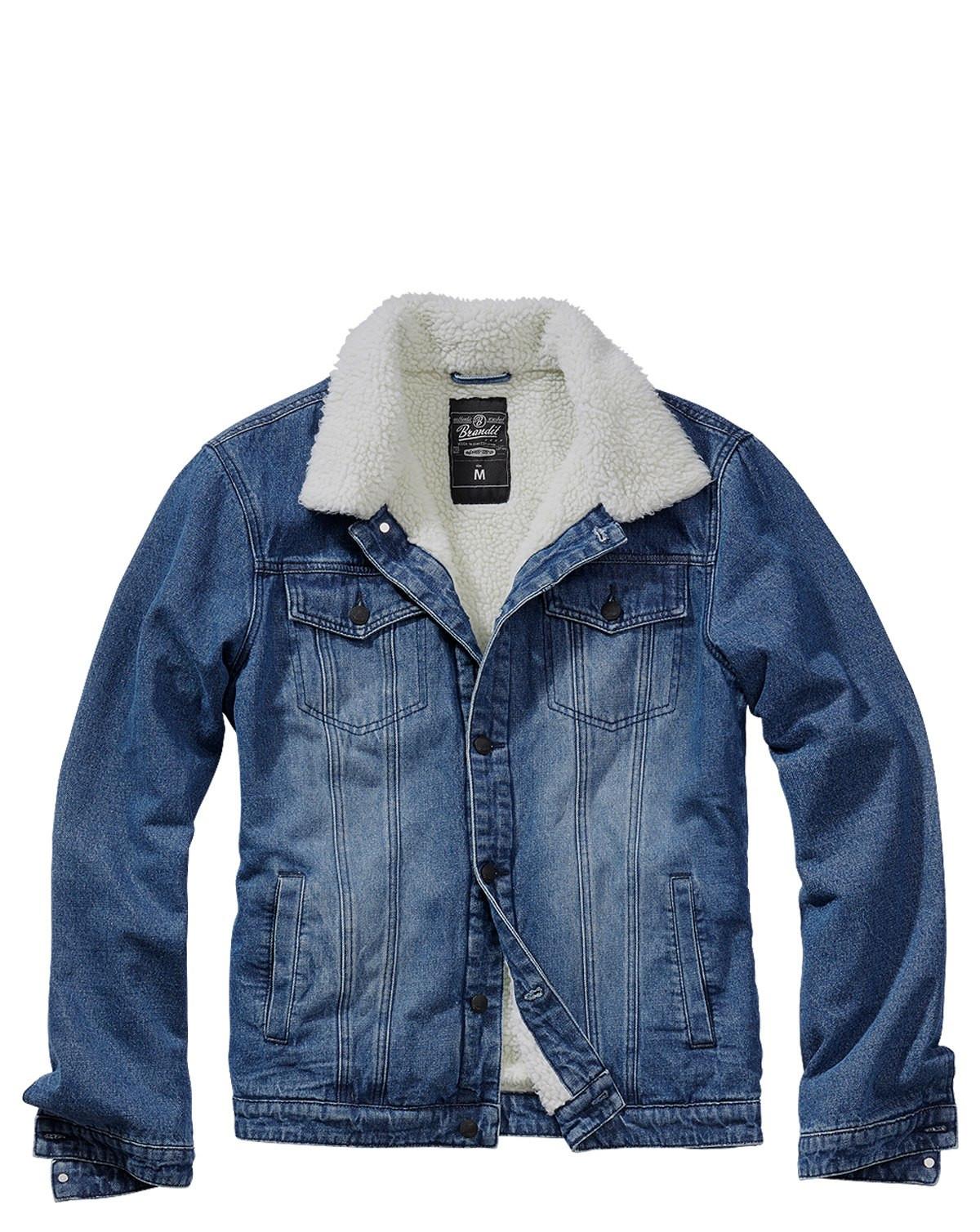 Brandit Sherpa Jeansjacka (Denim Blue / Off White, XL)