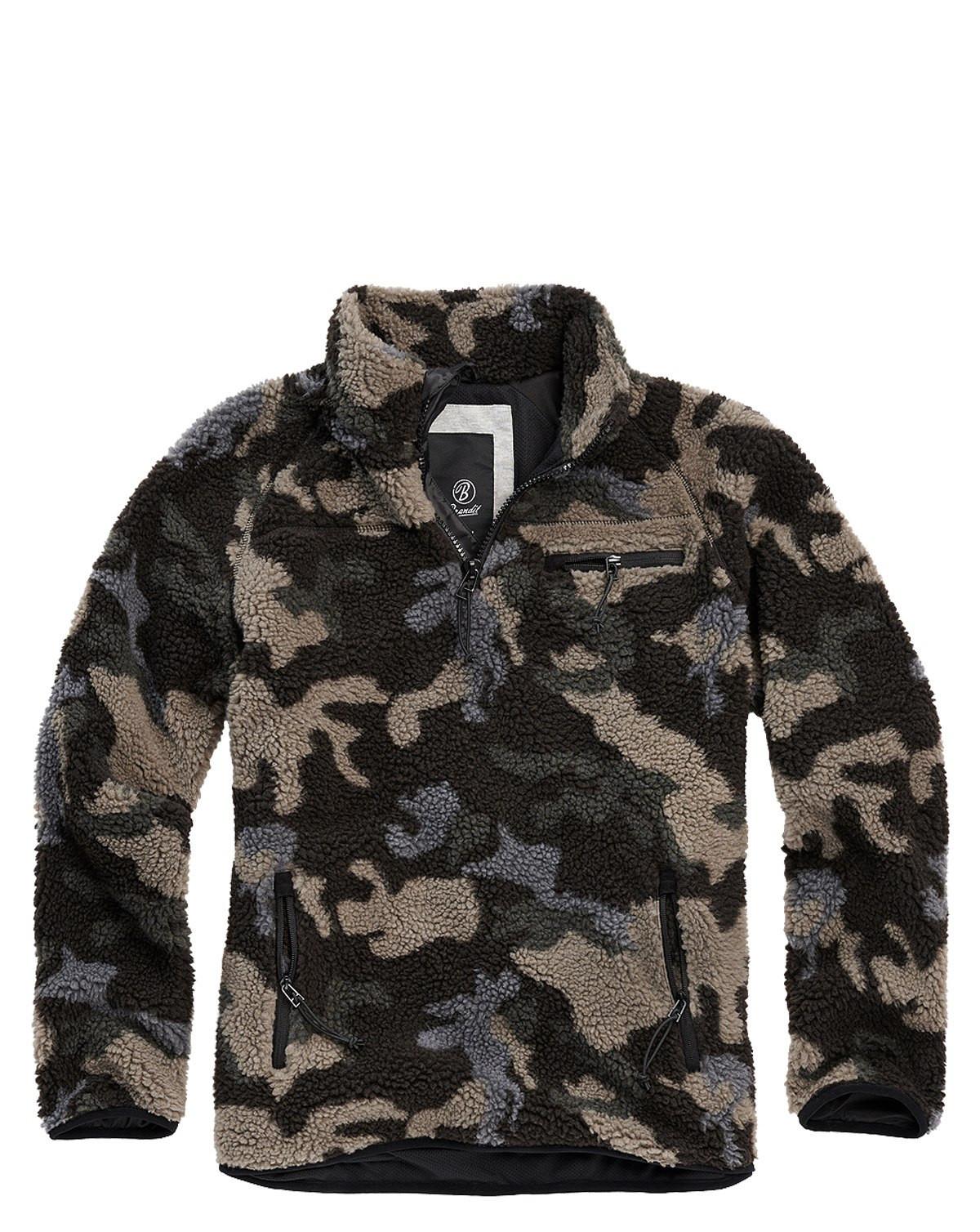 Brandit Teddyfleece Troyer Sweatshirt (Dark Camo, XL)