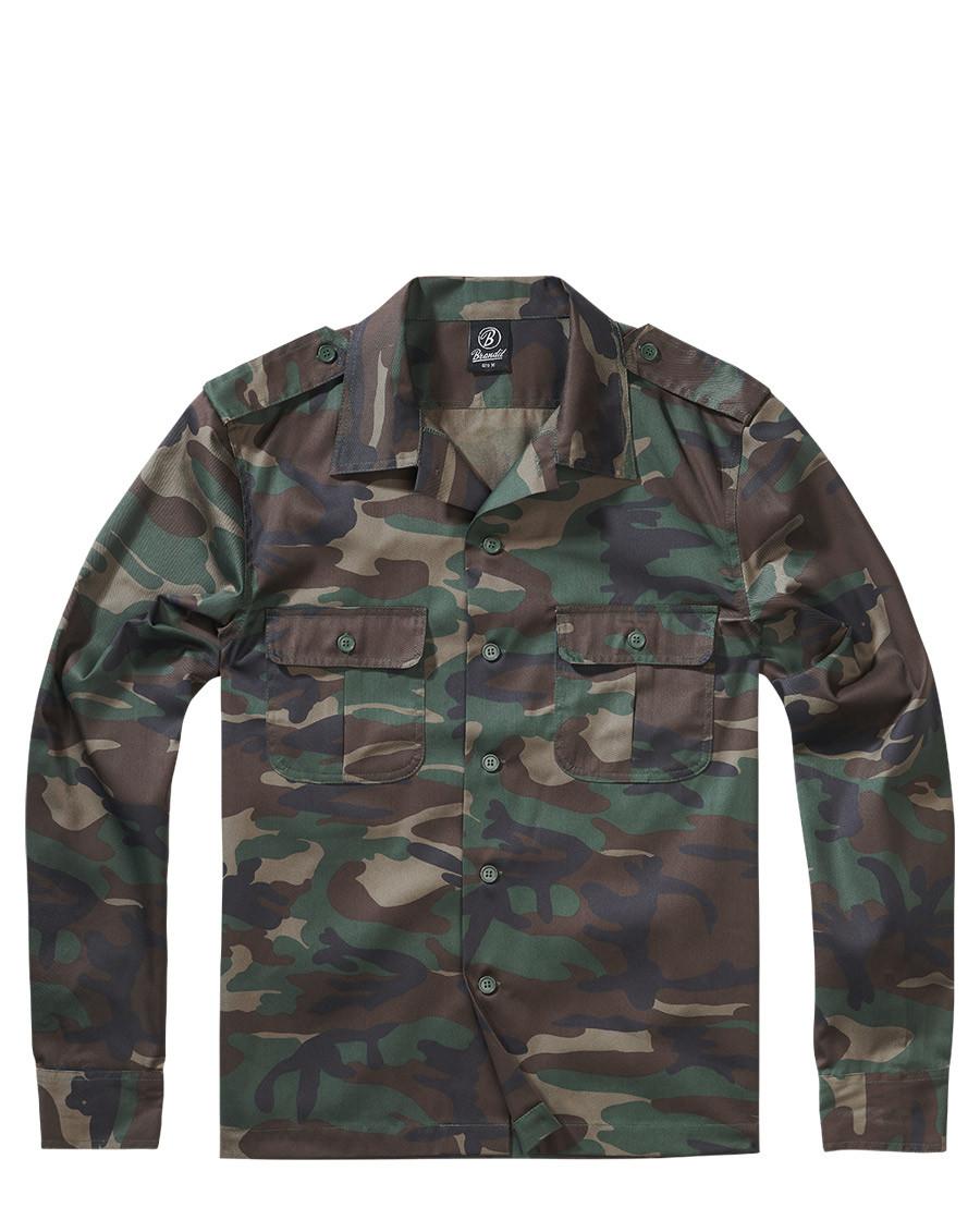 Brandit U.S. Långärmad Skjorta (Woodland, 5XL)