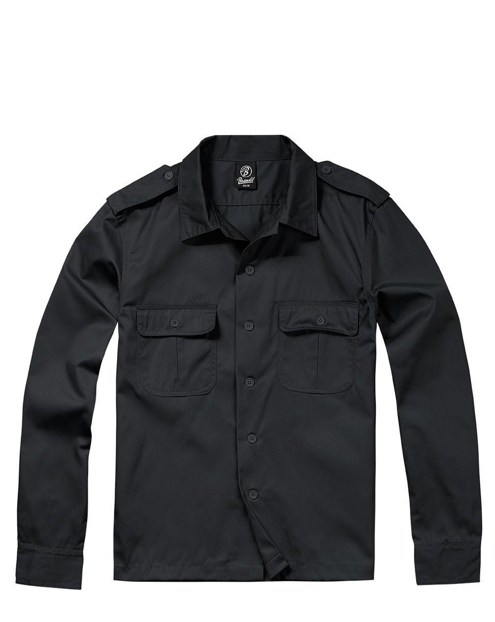 Brandit U.S. Långärmad Skjorta (Black, XL)