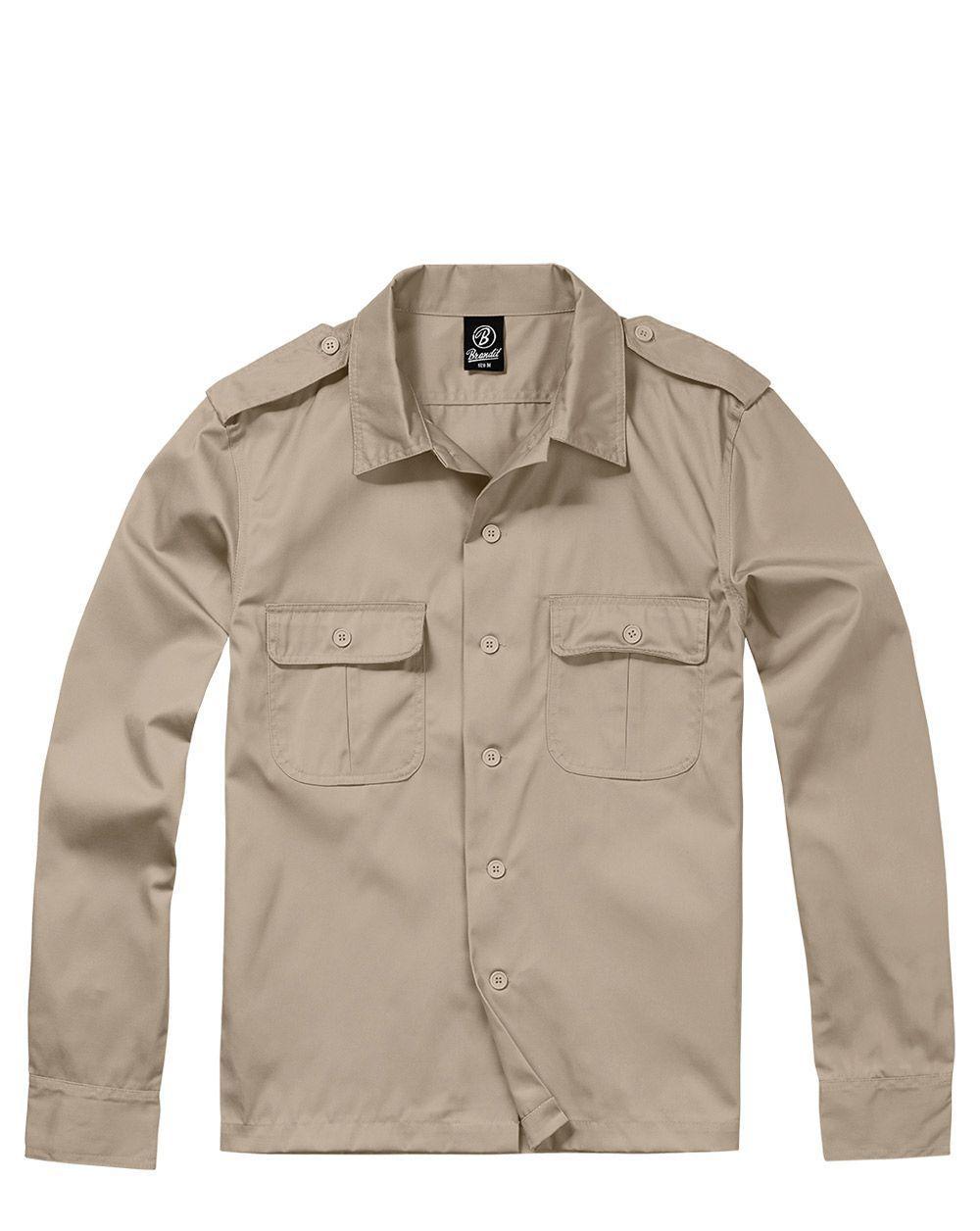 Brandit U.S. Långärmad Skjorta (Beige, XL)