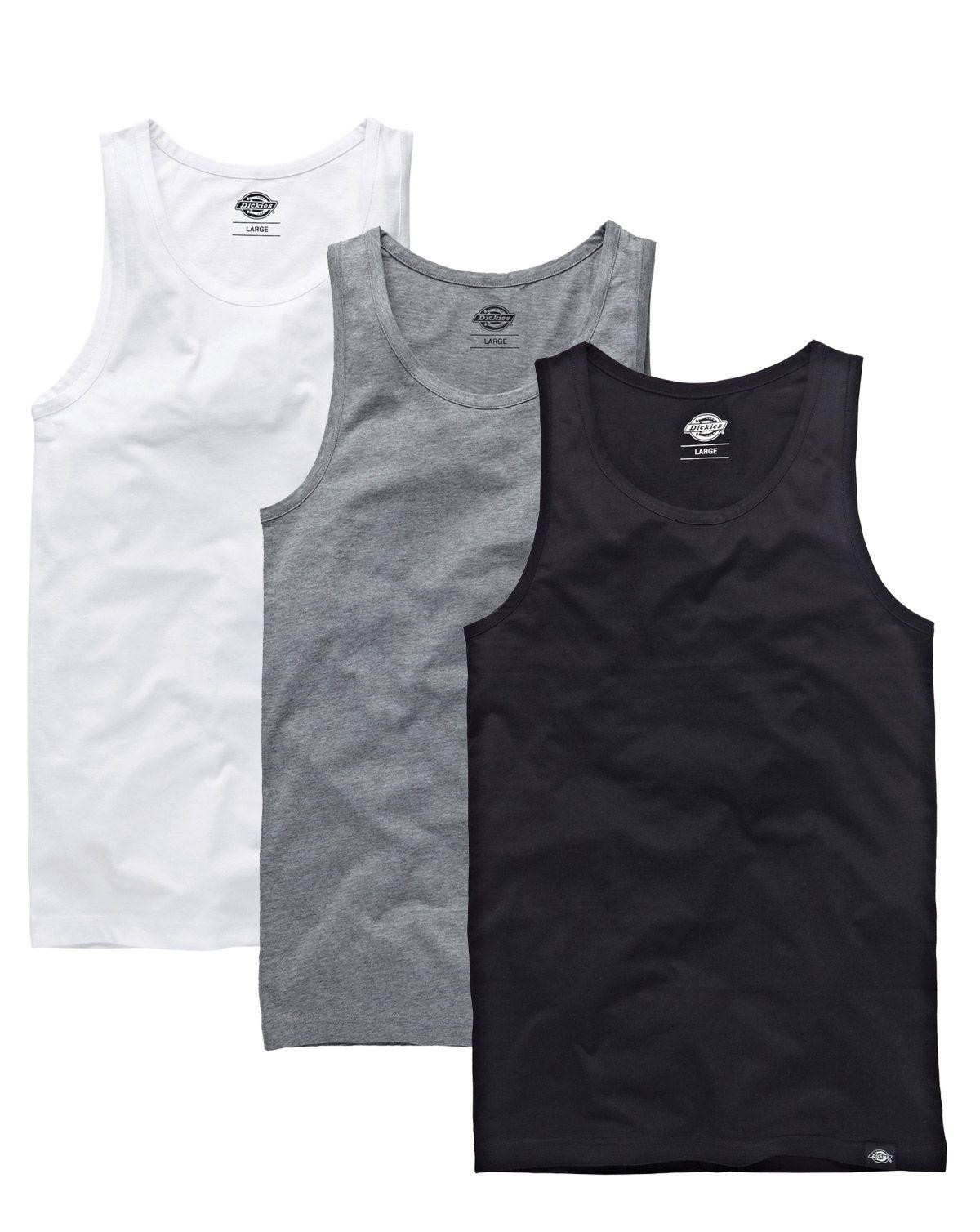 Dickies Loose Fit Tank tops - 3-Pack (Black, white and gray melange, XS)