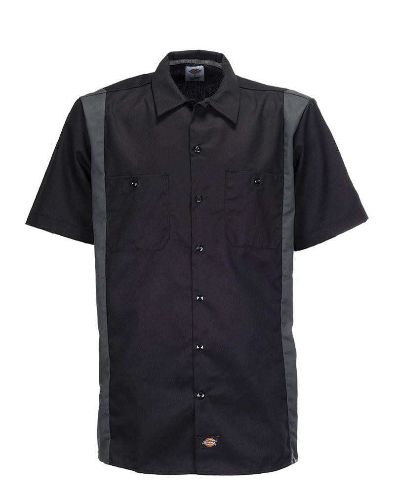 Dickies Two Tone Work Shirt (Black / Charcoal, XL)