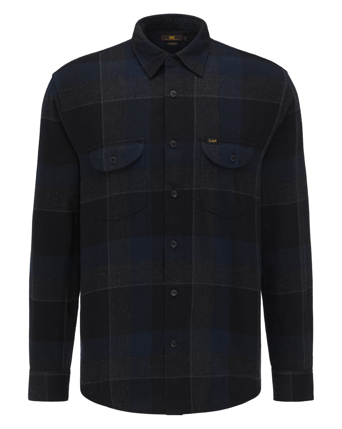 Lee Regular Fit Checked Worker Shirt (Blue / Black, L)