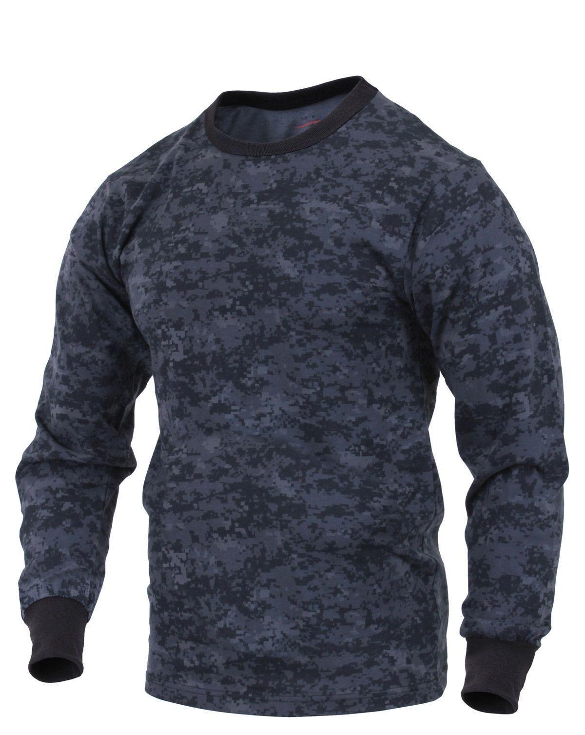 Rothco Långärmad T-shirt (Digital Midnight Camo, XL)