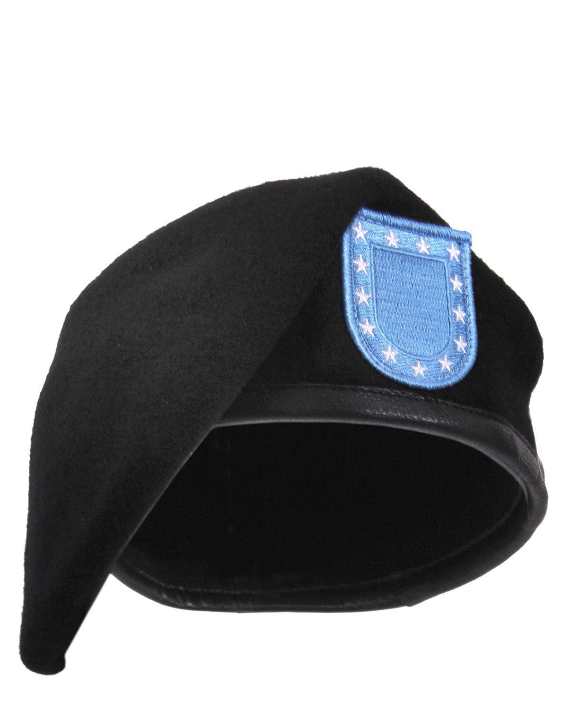 Rothco Militärbasker m. Patch - Ull (Black, US 7.3/4 / EU 62 cm)