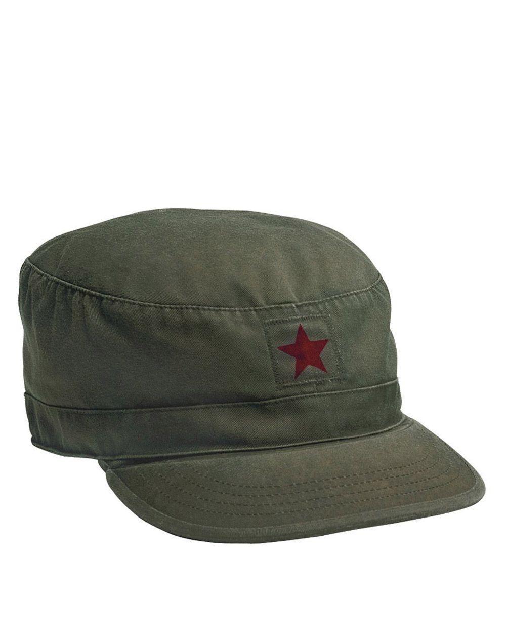 Rothco Militärkeps med märken (Olivgrön m. 'red star', US 7.1/2 / EU 60 cm)