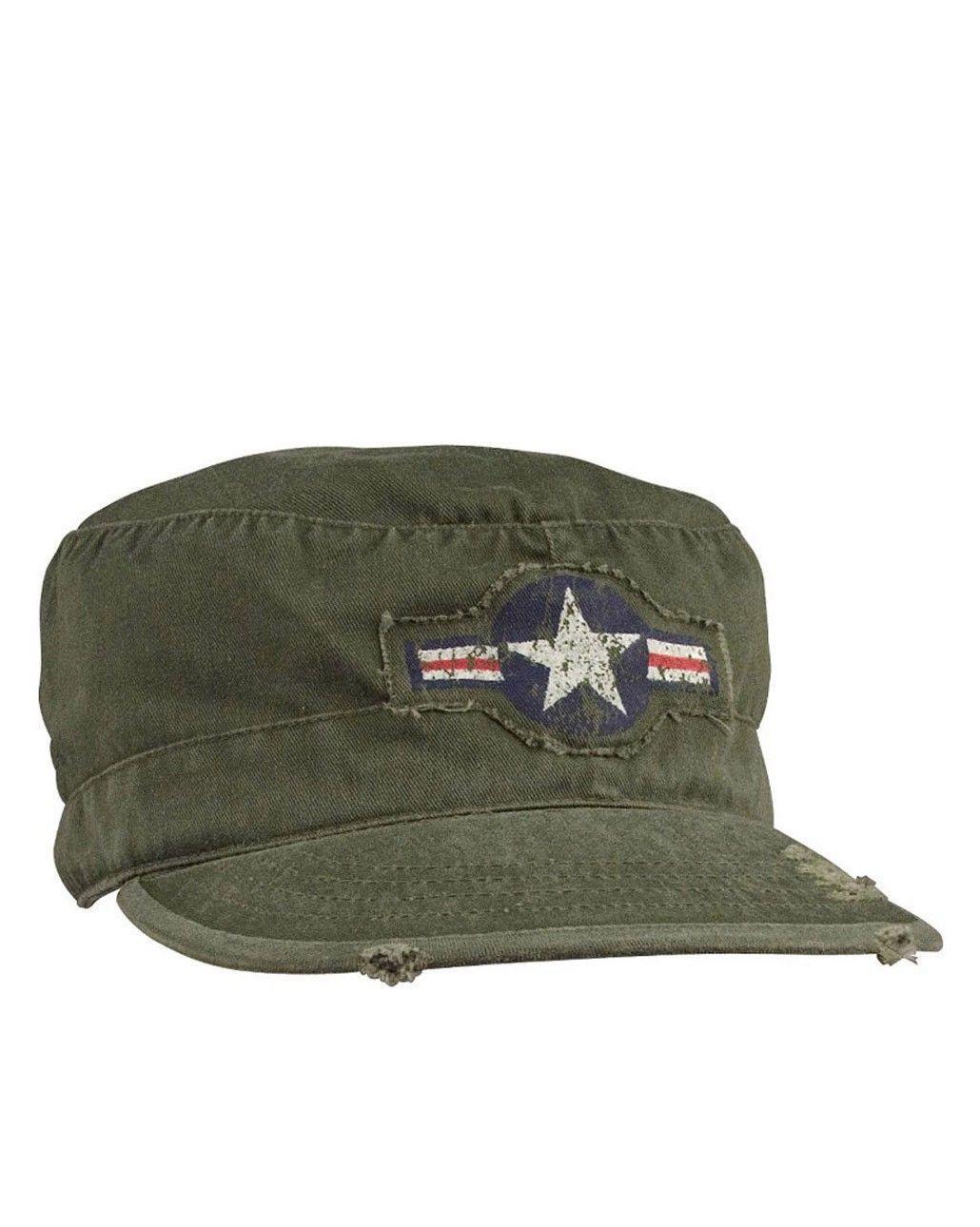 """Rothco Militärkeps med märken (Olivgrön m. """"AIR CORP"""" logo, US 7.0 / EU 56 cm)"""