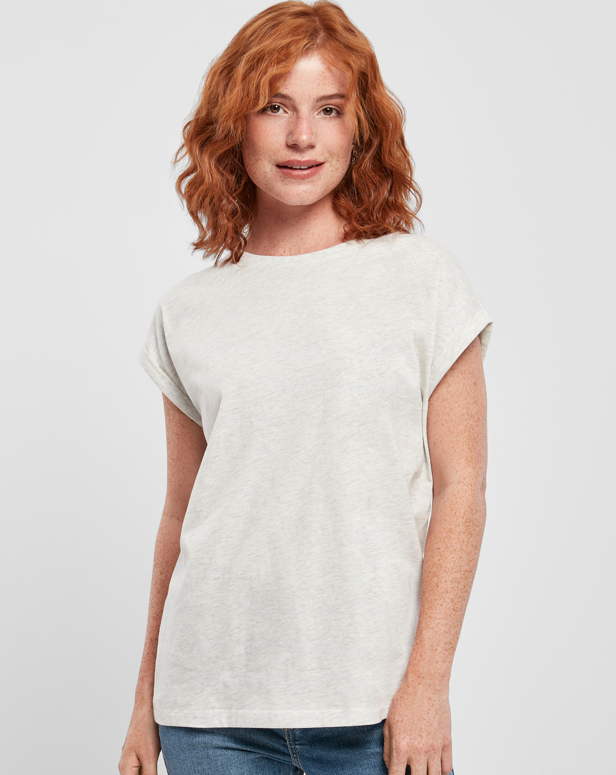 Urban Classics Ladies Extended Shoulder Tee (Ljusgrå, 2XL)