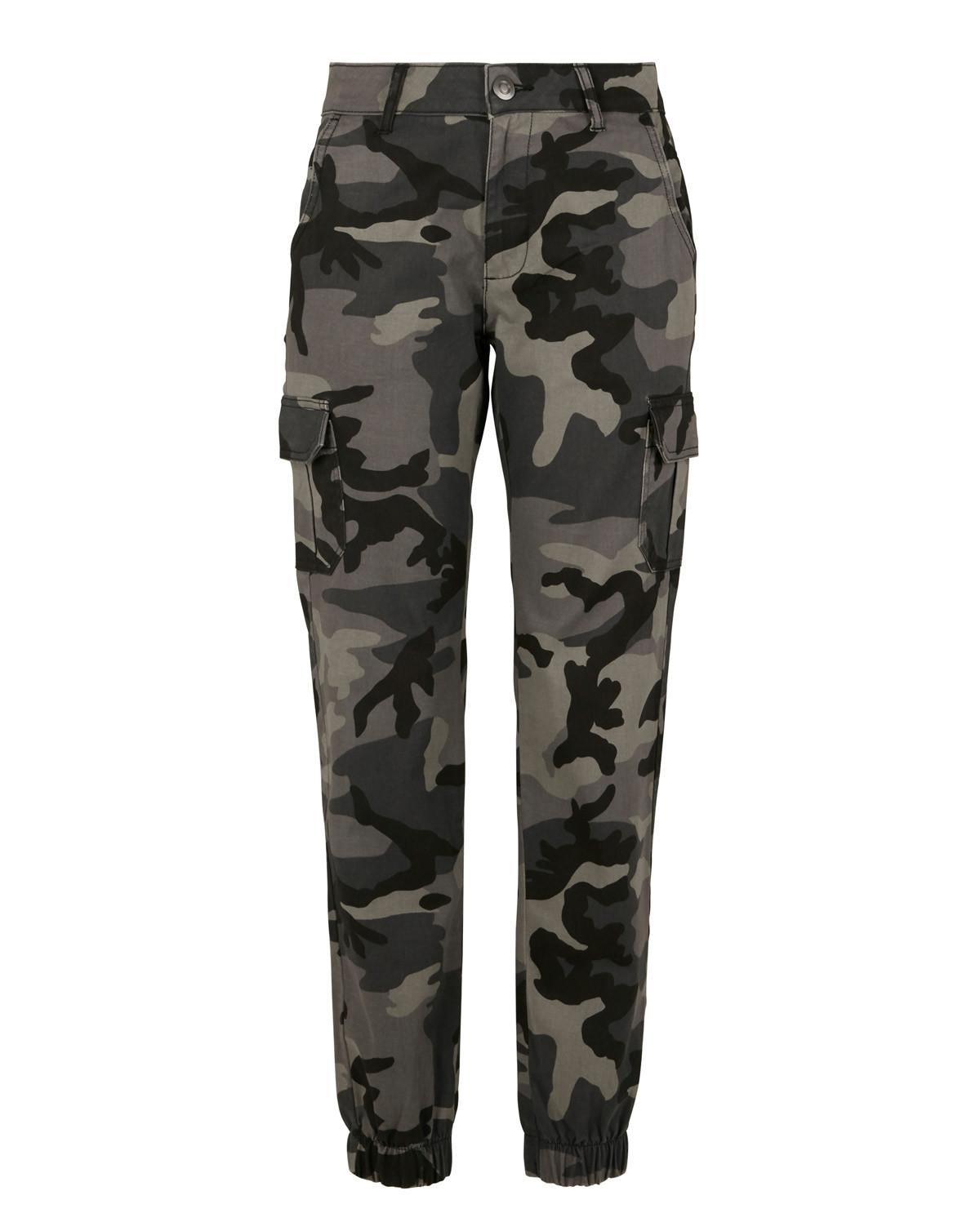 Urban Classics Ladies High Waist Camo Cargo Pants (Dark Camo, W29)