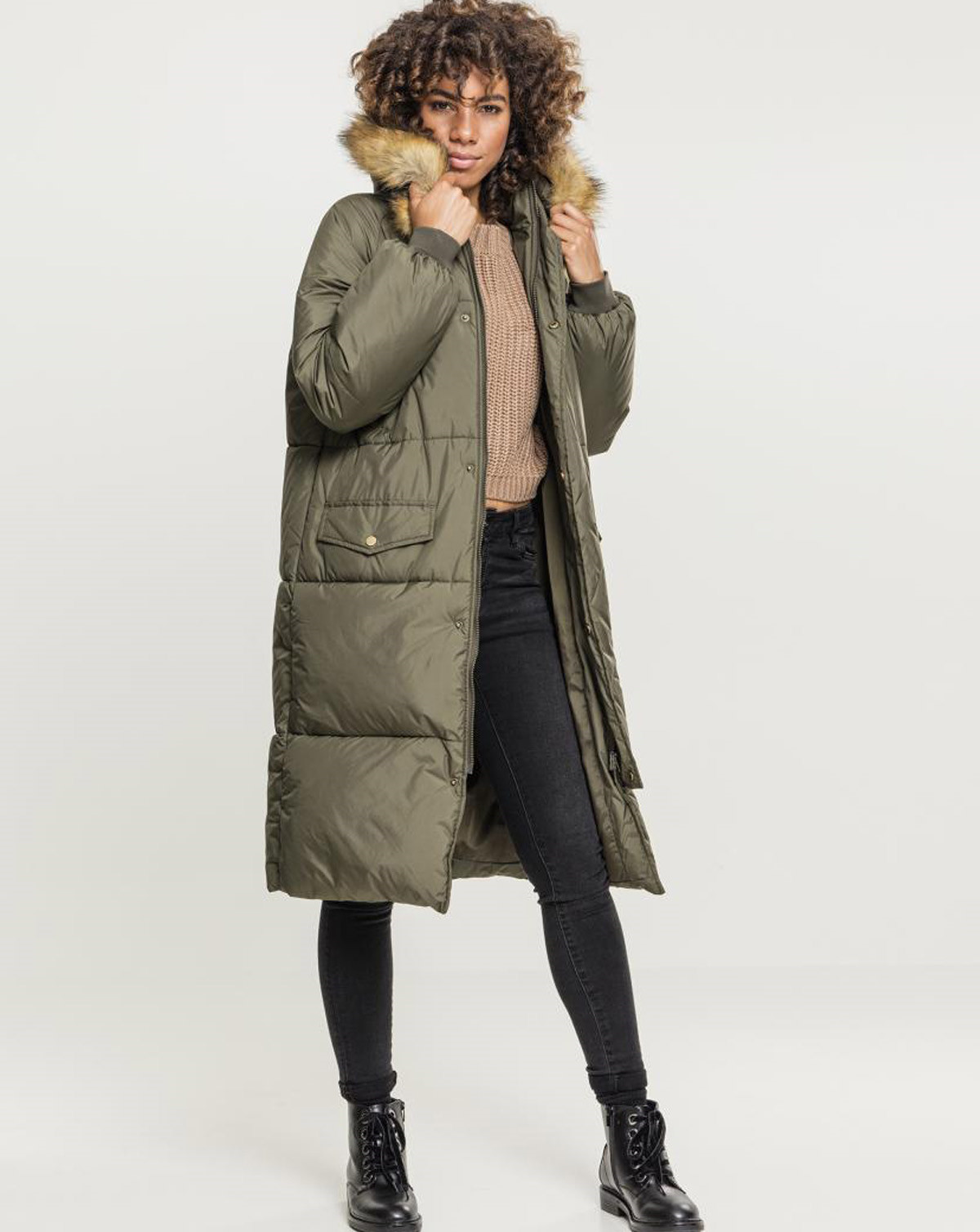 Urban Classics Ladies Oversize Faux Fur Puffer Coat (Dark Olive / Beige, 2XL)