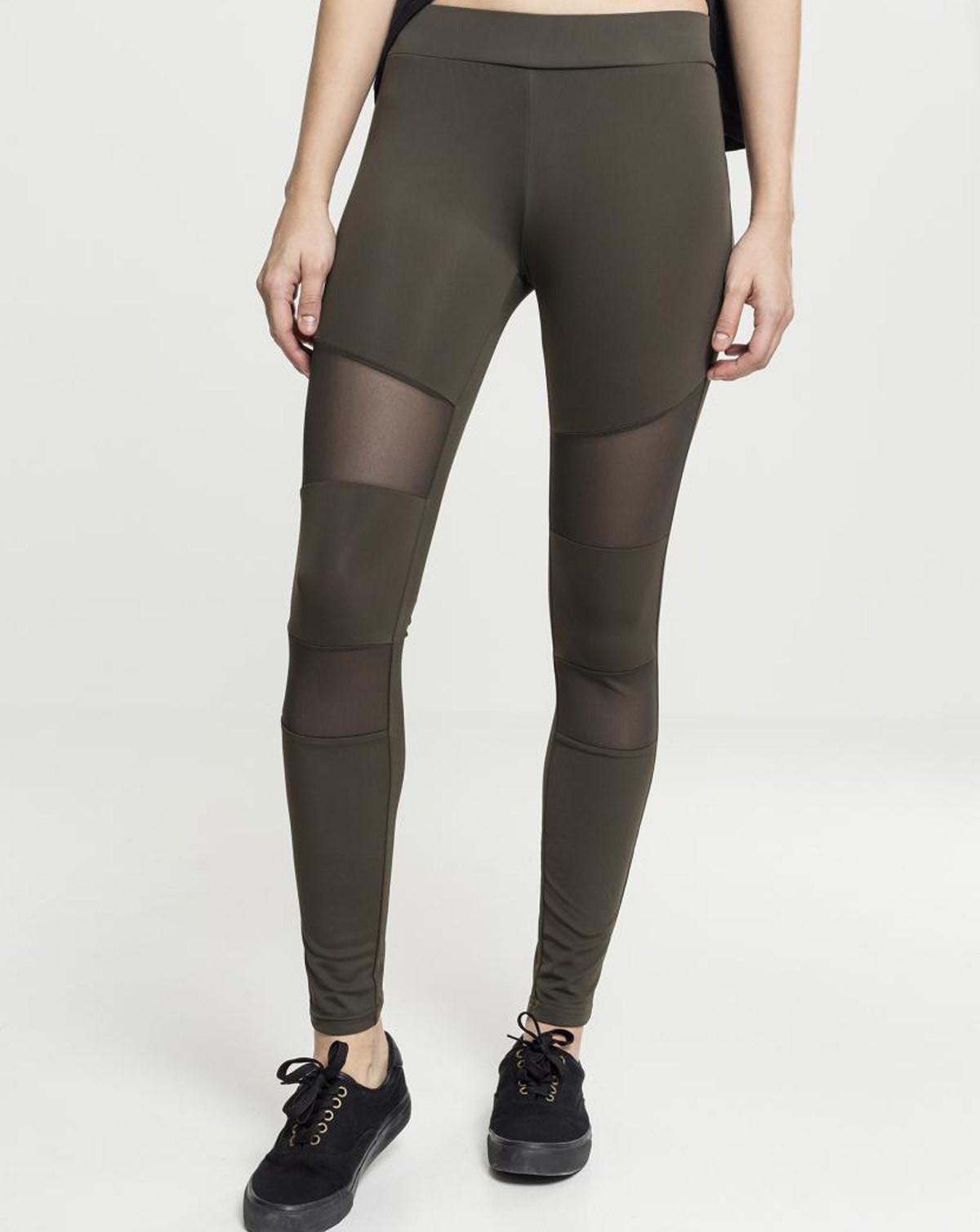 Urban Classics Ladies Tech Mesh Leggings (Dark Olive, 2XL)