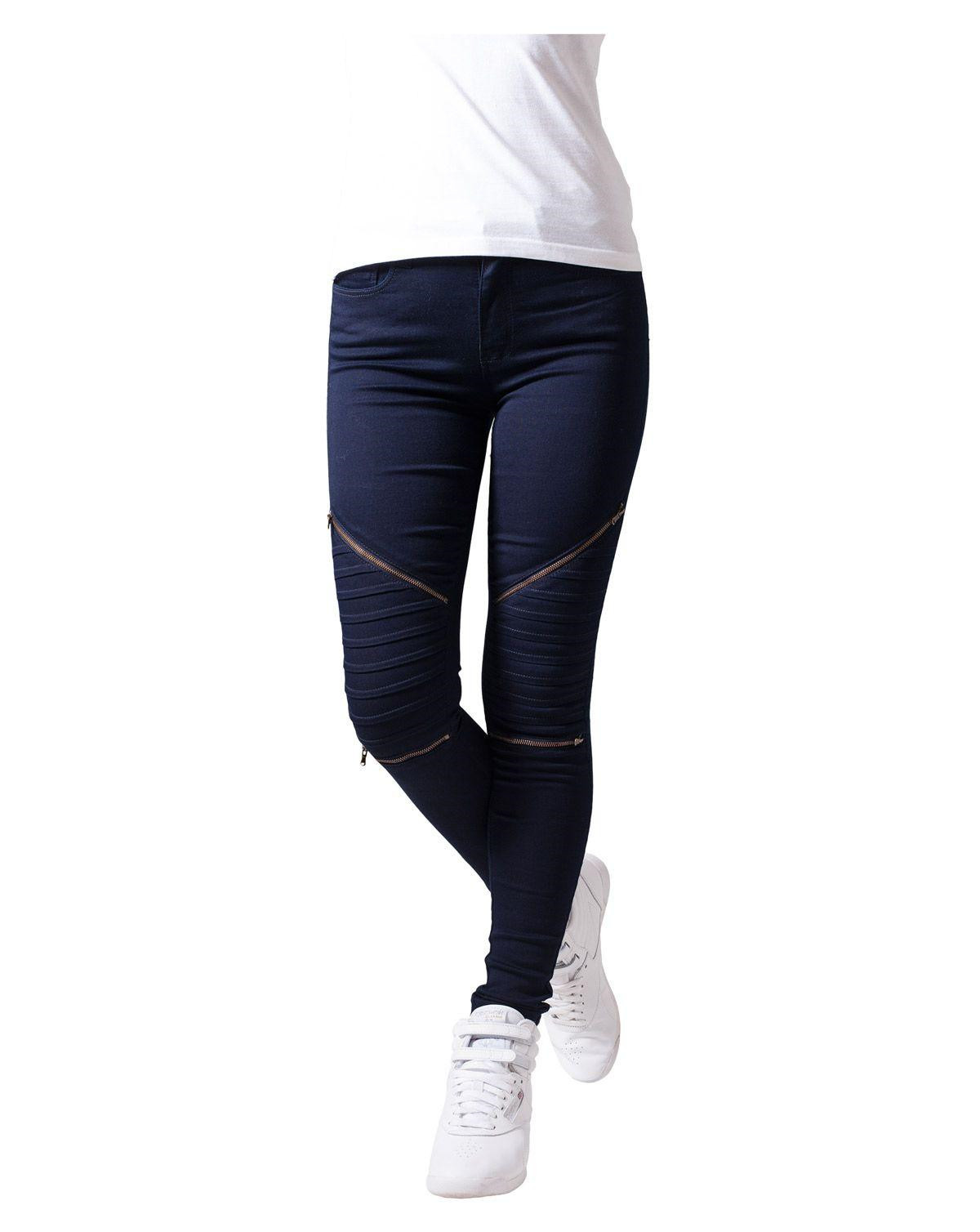 Urban Classics Stretch Bikerbyxor (Denim Blue, 27)